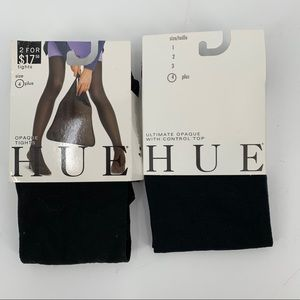 Two Pairs Hue Black Opaque Tights 4 Plus